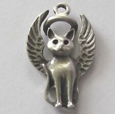 Pewter Guardian Angel Kitty-Cat Charm/Pendant~Collar~Necklace~Memorial Keepsake~
