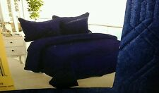 3 Pcs Solid Navy Super Soft Quilted King Microfiber Suede Quilt Coverlet Set