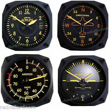 New TRINTEC VINTAGE Set 3 Clocks 1 Thermometer ALTIMETER GYRO HORIZON AIRSPEED