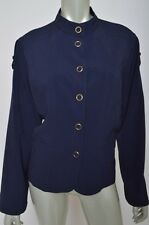 Chicos Navy Blue Stretch Military Casual Button Down Womens Jacket Coat sz 2