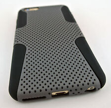 GREY GRAY PERFORATED NET HARD SOFT HYBRID CASE COVER APPLE IPHONE 6S PLUS 5.5""