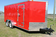 7x14 Enclosed Cargo Trailer V-Nose Utility Motorcycle Atv 12 Landscape 16 Dual