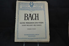 Bach Short Preludes an Fugues Piano Solo Vintage Sheet Music Theodor Wiehmayer