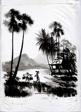 "Original Cambodian Cultural Painting done in Ink with Oil  14"" x 10""        CI01"