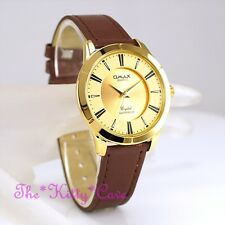 Swiss OMAX Gold Pltd Waterproof Brown Leather Seiko Movement Unisex Watch SC7767
