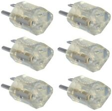 (6)  09907ME NEMA 515P 15A Clear Lighted End Electrical Plug Grounding Adapters