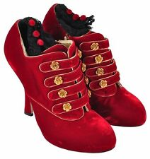 DOLCE & GABBANA RUNWAY Baroque Boots Booties Pumps Red Rouge EU 37 / US 6