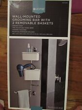 Chrome Wall-Mounted Grooming Bar With 2 Removable Baskets NIB