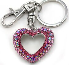 Hot Pink AB Mom Mother Daughter Best Friend Mothers Day Heart Car Keychain Charm