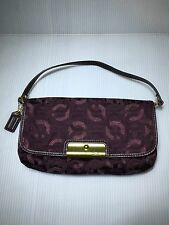 Coach Kristin Signature Sateen large Flap Purple Wristlet-New Without Tag