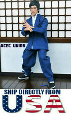 US SELLER 1/6 Long Sleeves Bruce Lee Kung Fu Costume Suit Set NAVY Color