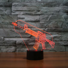 Gun Acrylic 3D LED Table Desk Light Illusion Lamp Touch Switch USB Cool Gift