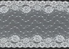 "7"" WHITE SCALLOPED STRETCH LACE FABRIC TRIM 20 YARDS BRIDAL LINGERIE COSTUMES"