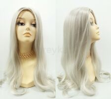 White & Gray Long Straight Wig Witch Old Lady Vampiress Silvery Grey Color 22""