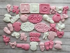 38 Pink & white Baby girl christening edible cupcake toppers Baby Shower