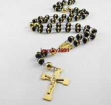 men's jewelry fashion rosary chain black plastic ball & stainless steel necklace