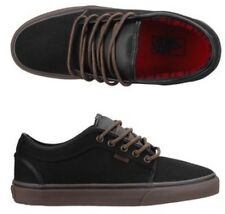 New Vans Mens 6.5 Womens 8 Chukka Low Black Gum Flannel Skate Shoes Sneakers