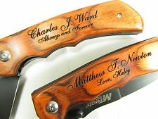 Personalized Pocket Knife with Engraved Name and Message Contour Grip