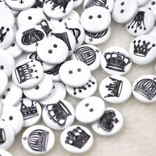 50pcs Imperial crown Pattern Wooden Buttons Fit Sewing and Scrapbook WB329