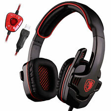 Stereo 7.1 Surround Headset USB Headband Pro Gamers W/Microphone SA-901