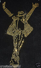 MJ michael Jackson GLd iron-on RHINESTONE diamante bling BEAD garment  TRANSFER