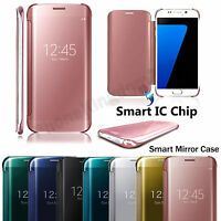 Luxury Mirror Smart Clear View Wallet Flip Case Cover For Samsung Galaxy S7 Edge