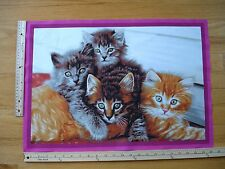 "Kittens Yellows Browns Green Eyes  Cotton Quilt Fabric Block 15 1/2"" x 22 1/2"""