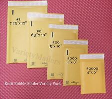 20 SMALL KRAFT BUBBLE POSTAL MAILING ENVELOPE VARIETY ~ 5 SIZE COMBO PACK