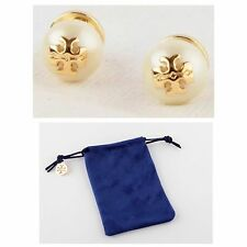AUTHENTIC TORY BURCH 'EVIE' PEARL STUD EARRINGS W/ TB JEWELRY POUCH- RV $68-NEW!