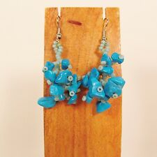 """1 1/2""""  Drop Style Turquoise Color Stone Chip Handmade Dangle Seed Bead Earring"""