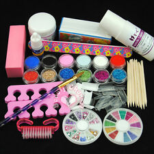 12PC Acrylic Powder Glitter Nail Art Liquid Kit Files Brush Glue Tips Set Deco