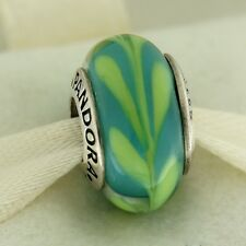 Authentic Pandora 790673 Aqua Green Swirly Swirl Murano Glass Bead Charm