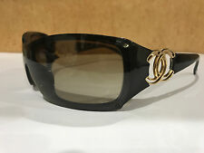 CHANEL Sunglasses AUTHENTIC 6020 CH6020 Brown Gold CC Shield Wrap Womens Case