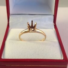 14k Yellow Gold .75ct Diamond Solitaire Engagement Ring Semi Mount.