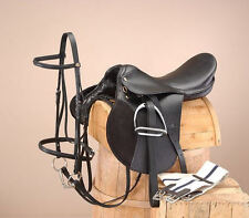 "18 Inch All Purpose Draft Horse English Saddle Pkg BLACK (Extra Wide) 9"" Gullet"