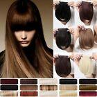UK Real Straight Bangs Clip in on Fringe Hair Extensions Synthetic brown blonde
