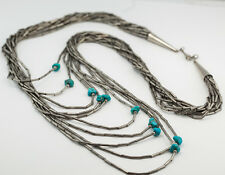 Native Indian Sterling Silver 10 Strand Pawn Navajo Liquid Turquoise Necklace!