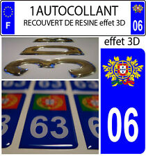 1 sticker plaque immatriculation auto TUNING 3D RESINE  BLASON PORTUGAL DEPA 06