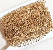 32ft spool Gold plated curb chain 4.5x3.2mm, bulk gold plated brass curb chain