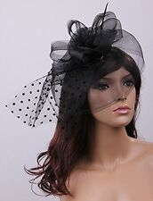 Black Fascinator Sinamay Hat With Veil and Clip - Wedding Races Party Brand New