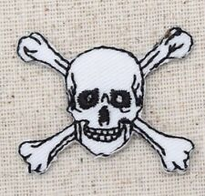 Iron On Embroidered Applique Patch White Jolly Roger Skull Crossbones Small
