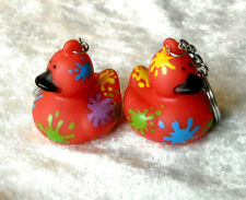 Lot of 2 AMERICAN Heart ASSOCIATION SPLATTER QUACKY Rubber DUCK Key chain ring