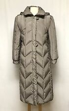 womens taupe LONG DOWN COAT puffer overcoat insulated stadium parka hood LARGE