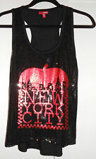 BONGO RACER BACK TANK TOP - S - BLACK AND RED SEQUINES BIG  APPLE NEW YORK CITY