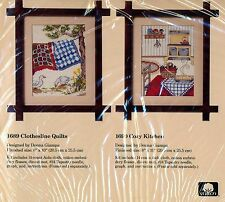 2 CREATIVE CIRCLE CROSS STITCH KITS: #1689 CLOTHESLINE QUILTS #1690 COZY KITCHEN