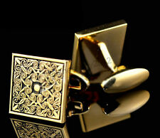 Royal Gold Square Mens Wedding Party gift shirt cufflinks cuff links