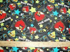 Cotton Fabric Angry Birds by Rovio with stars on black game  BTY