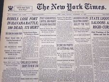 1933 NOV 10 NEW YORK TIMES - REBELS LOSE FORT IN HAVANA BATTLE 100 DEAD- NT 5267