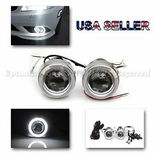 "RALLY STYLE 3"" PROJECTOR WHITE LED ANGEL EYES FOG LIGHT FOR SUBIES H3 HID READY"