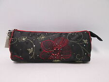 Black Beaded Cosmetic Makeup Bag Pencil Pen Brush Case Storage Pouch Purse #2F8